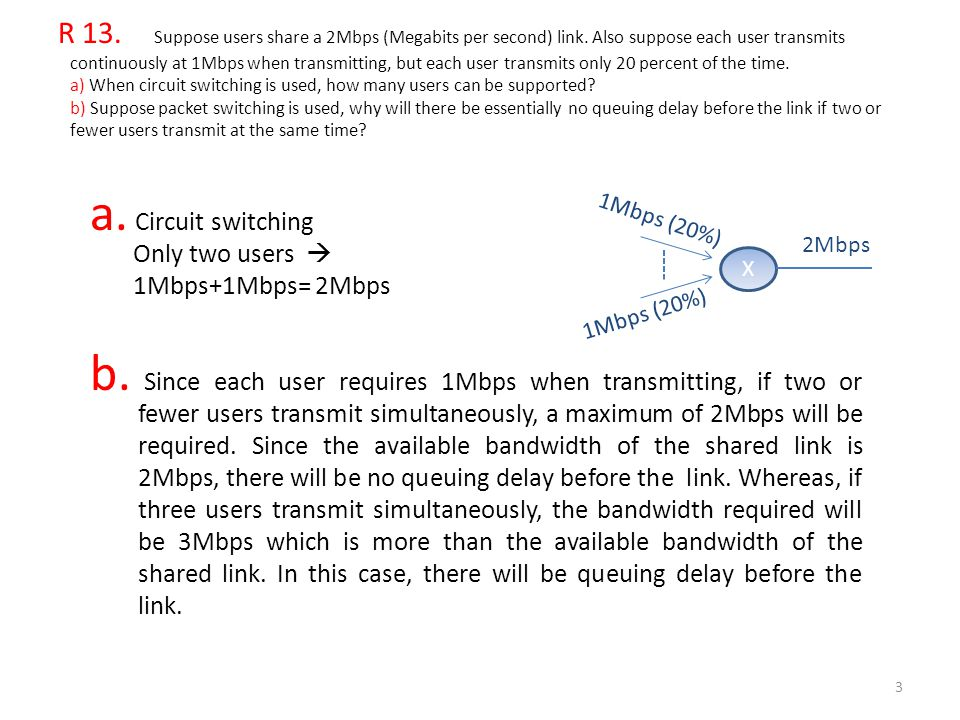 R 13. Suppose users share a 2Mbps (Megabits per second) link