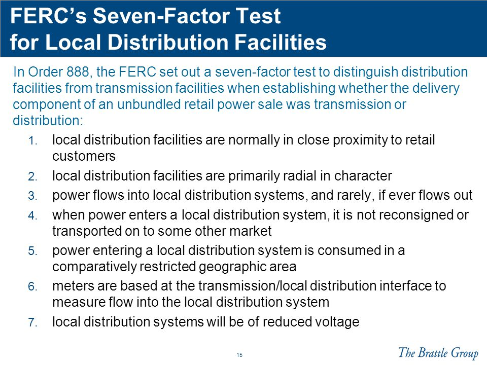 FERC's Seven-Factor Test for Local Distribution Facilities