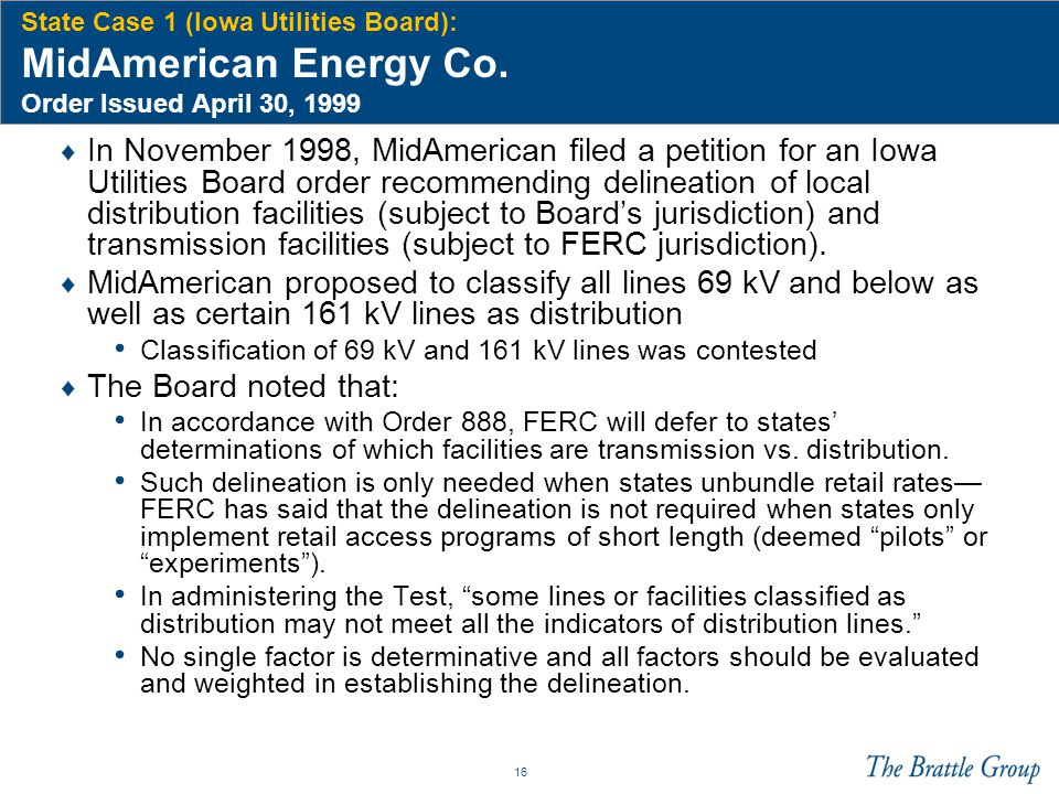 State Case 1 (Iowa Utilities Board): MidAmerican Energy Co