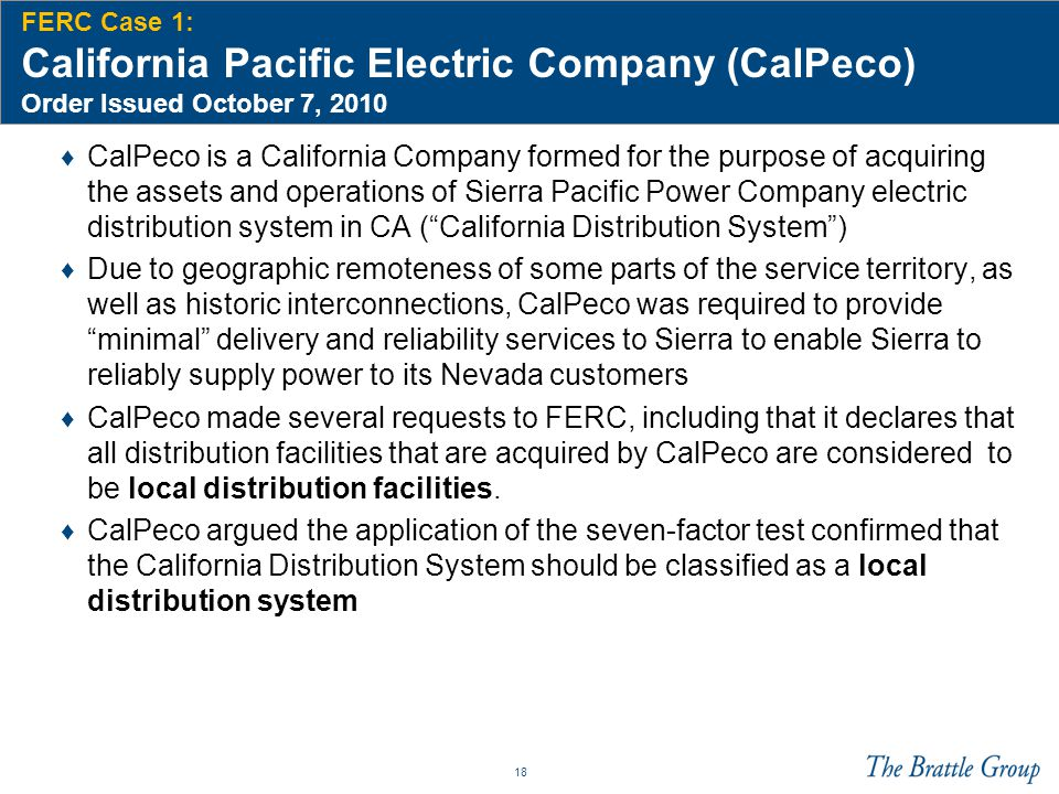 FERC Case 1: California Pacific Electric Company (CalPeco) Order Issued October 7, 2010