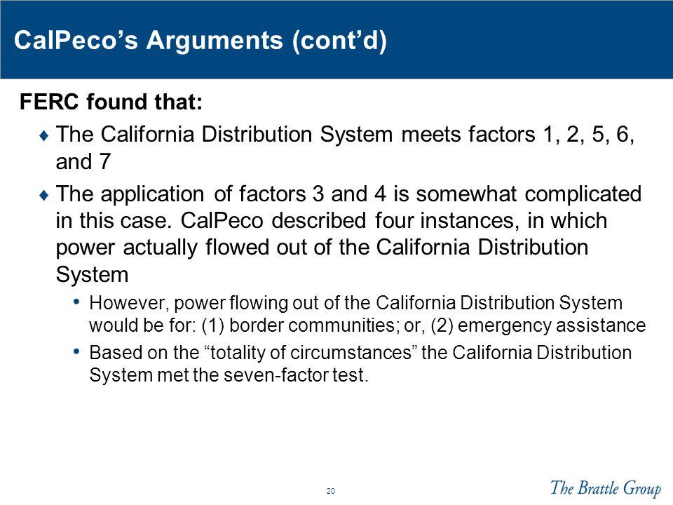 CalPeco's Arguments (cont'd)