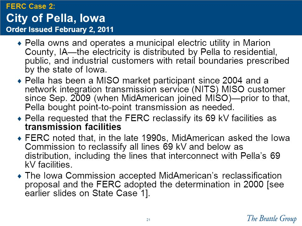 FERC Case 2: City of Pella, Iowa Order Issued February 2, 2011