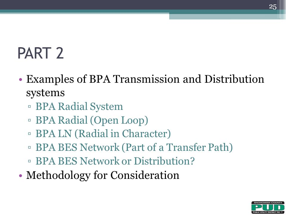 PART 2 Examples of BPA Transmission and Distribution systems