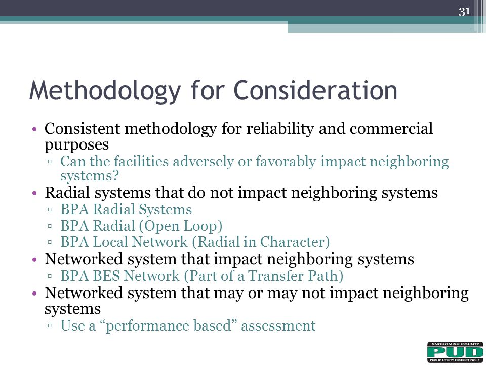 Methodology for Consideration