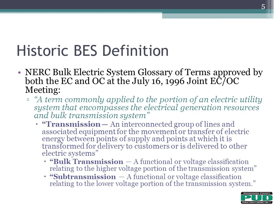 Historic BES Definition