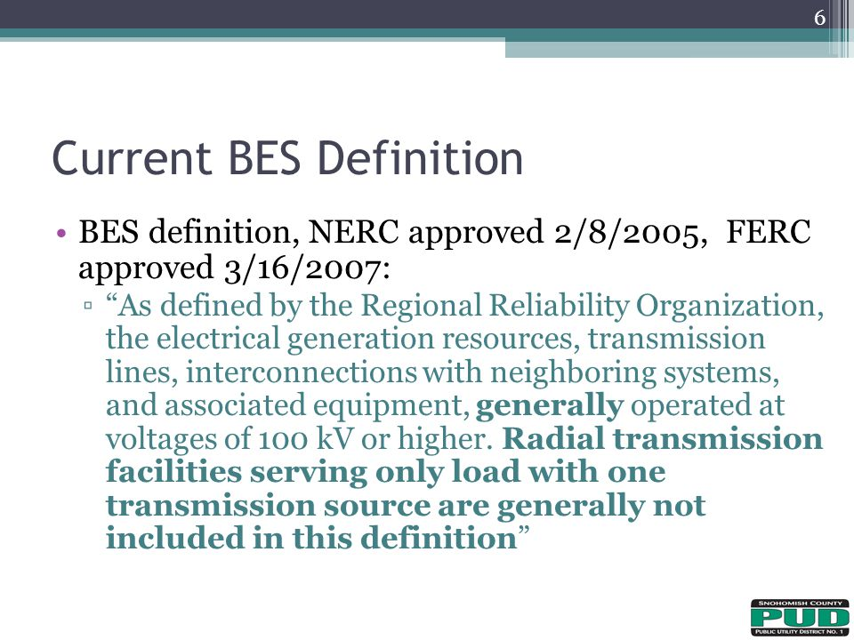 Current BES Definition