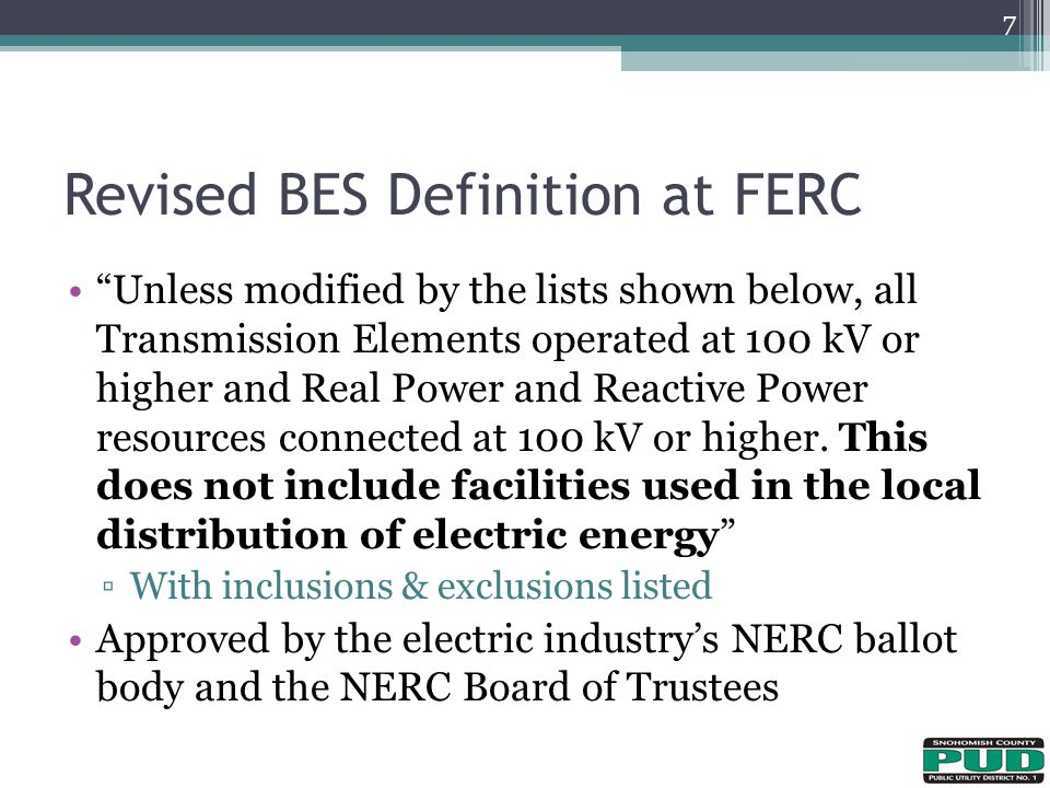 Revised BES Definition at FERC
