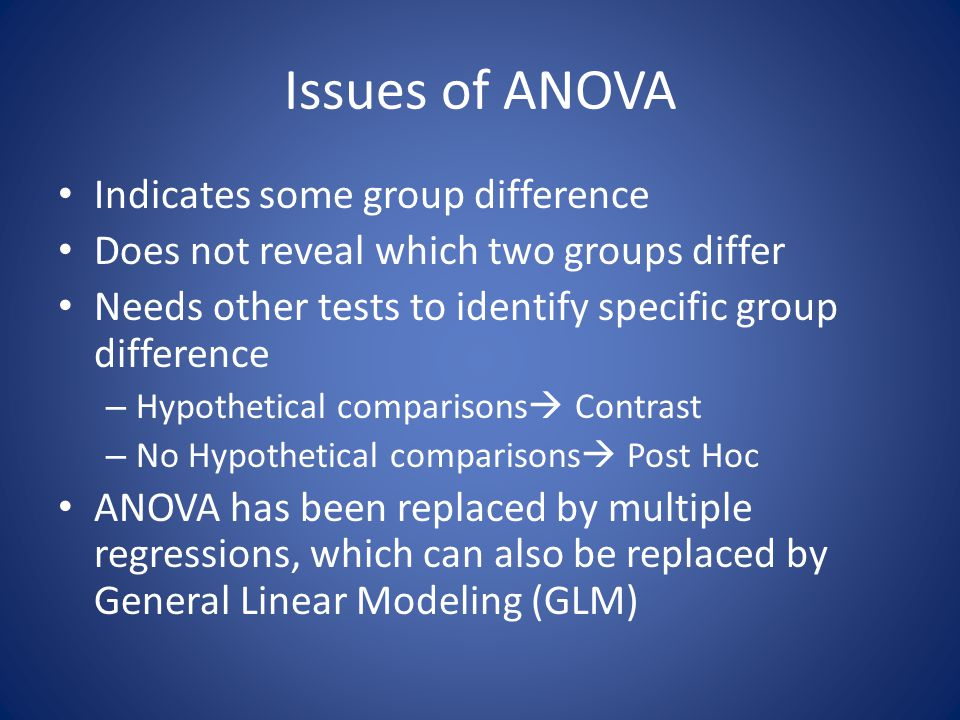 Issues of ANOVA Indicates some group difference