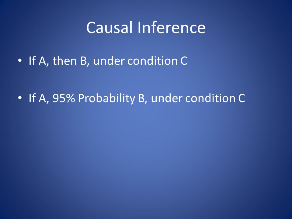 Causal Inference If A, then B, under condition C