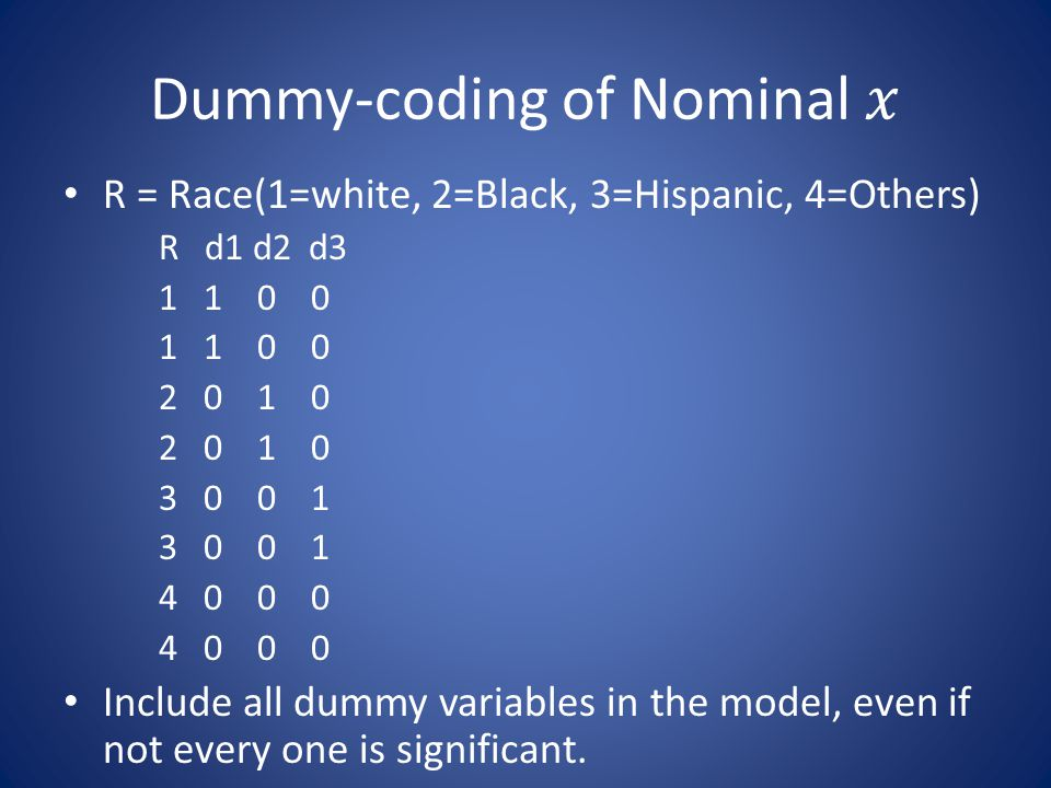 Dummy-coding of Nominal 𝑥