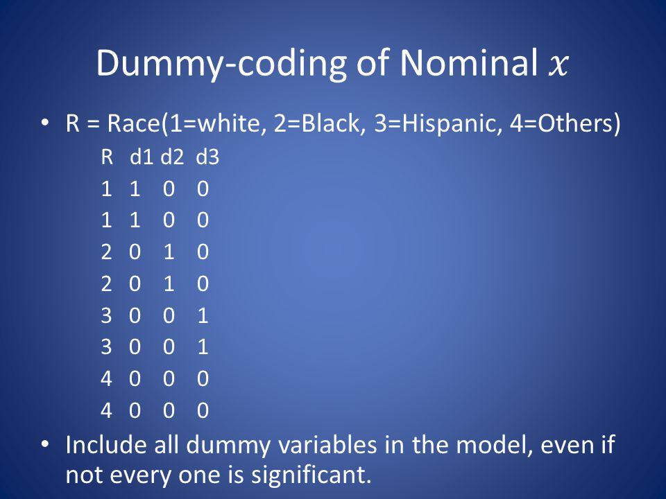 Dummy-coding of Nominal 𝑥