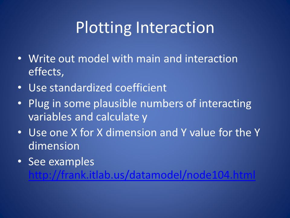 Plotting Interaction Write out model with main and interaction effects, Use standardized coefficient.