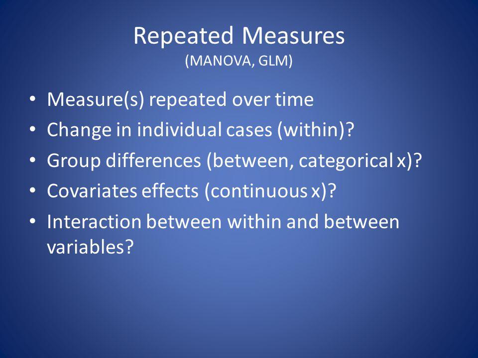 Repeated Measures (MANOVA, GLM)