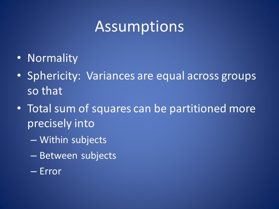 Assumptions Normality