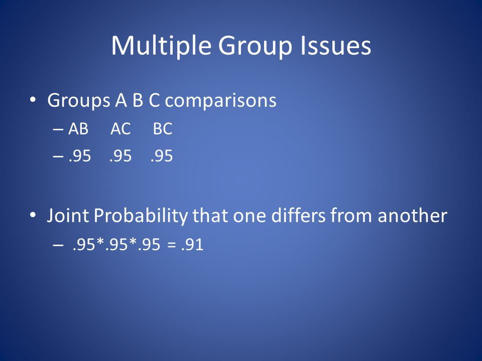 Multiple Group Issues Groups A B C comparisons