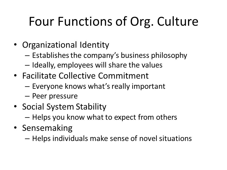 Four Functions of Org. Culture