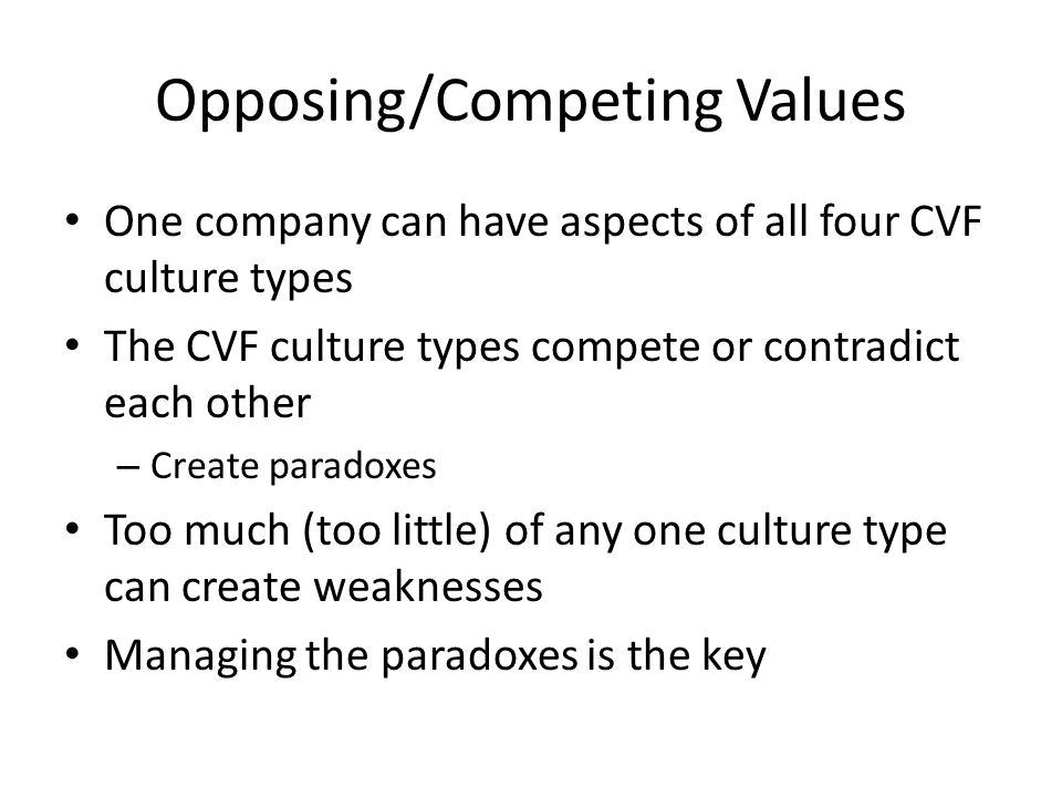 Opposing/Competing Values