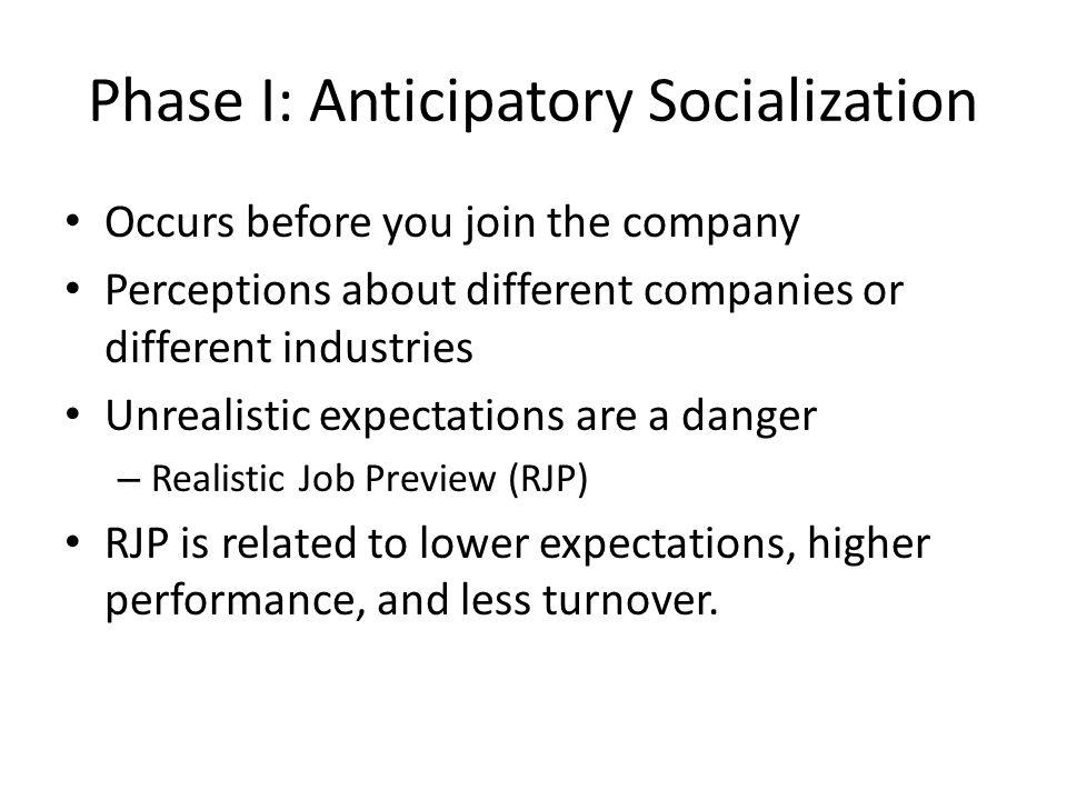 Phase I: Anticipatory Socialization