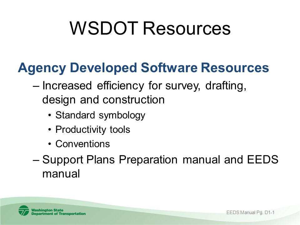 WSDOT Resources Agency Developed Software Resources