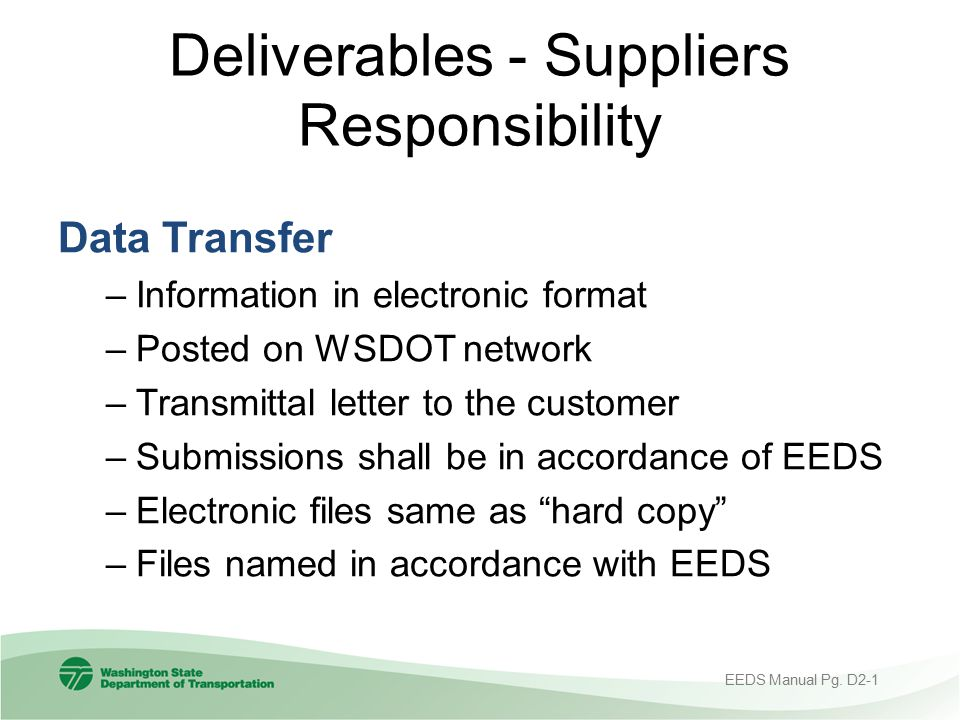 Deliverables - Suppliers Responsibility
