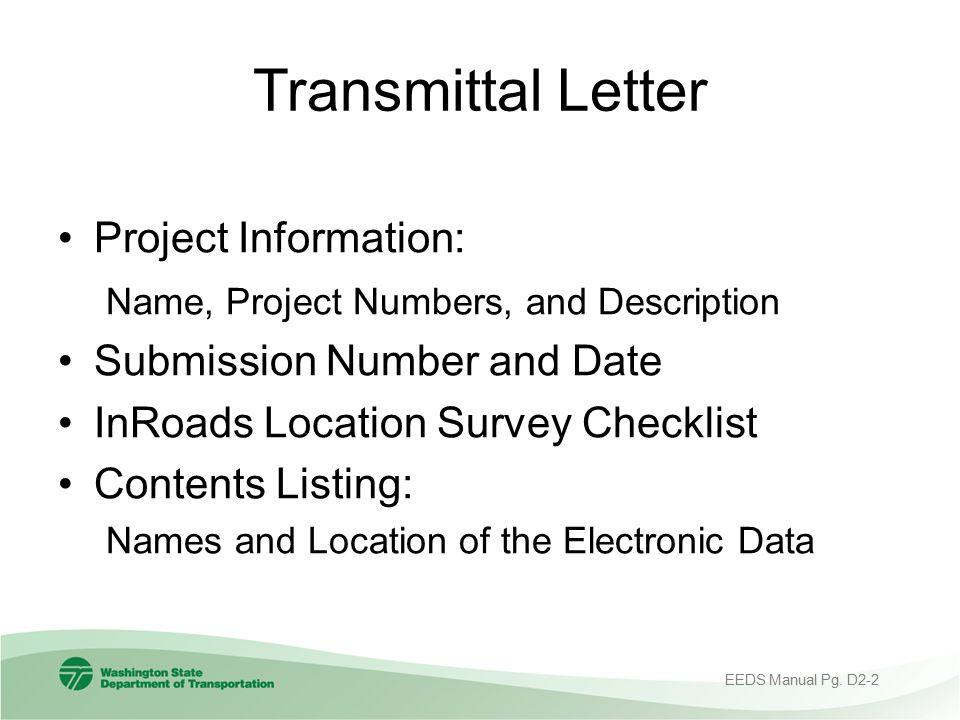 Transmittal Letter Project Information: