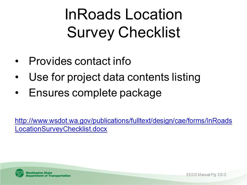 InRoads Location Survey Checklist