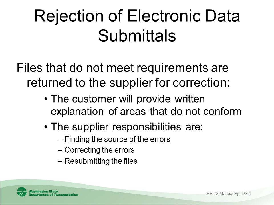 Rejection of Electronic Data Submittals