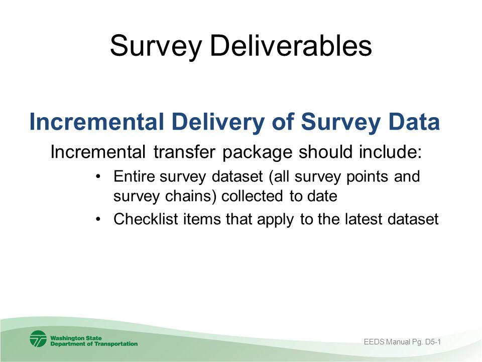 Survey Deliverables Incremental Delivery of Survey Data