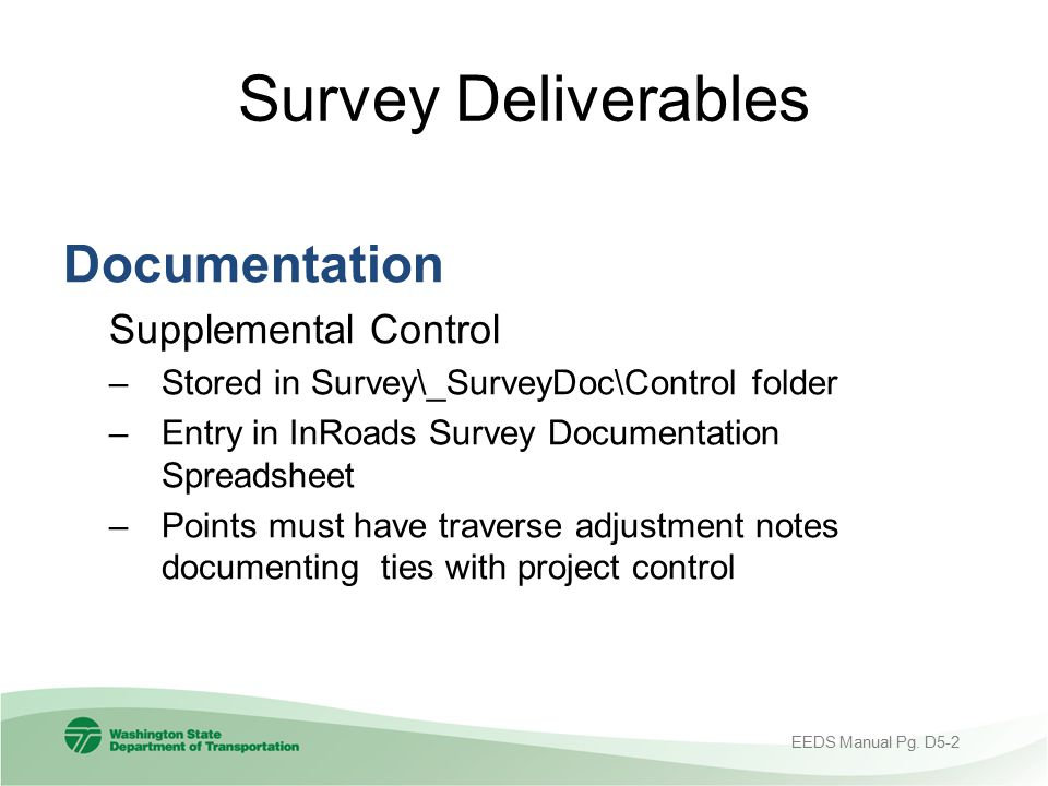 Survey Deliverables Documentation Supplemental Control