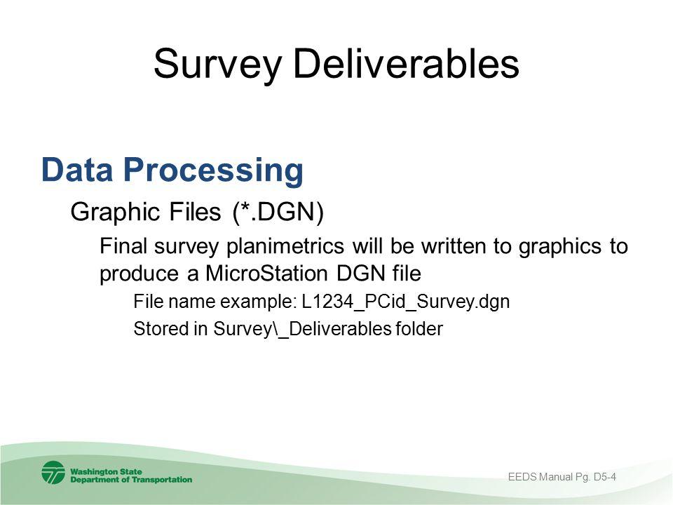 Survey Deliverables Data Processing Graphic Files (*.DGN)