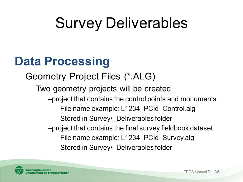 Survey Deliverables Data Processing Geometry Project Files (*.ALG)