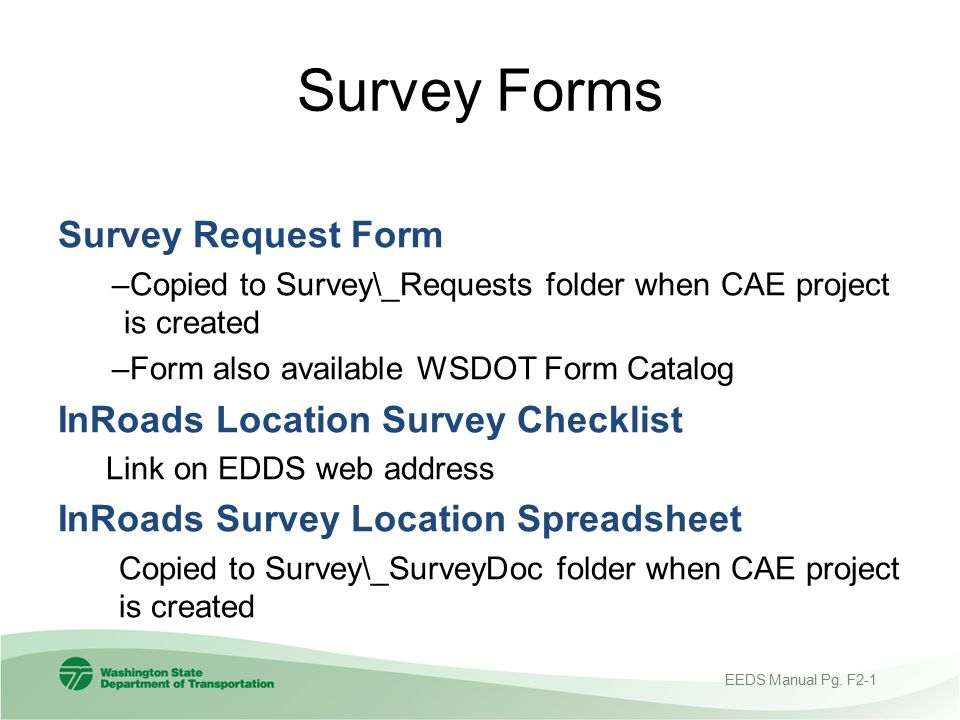 Survey Forms Survey Request Form InRoads Location Survey Checklist