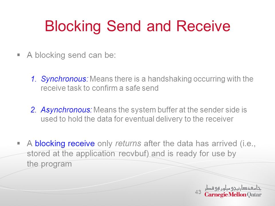 Blocking Send and Receive