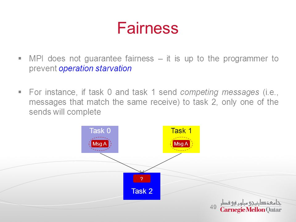 Fairness MPI does not guarantee fairness – it is up to the programmer to prevent operation starvation.