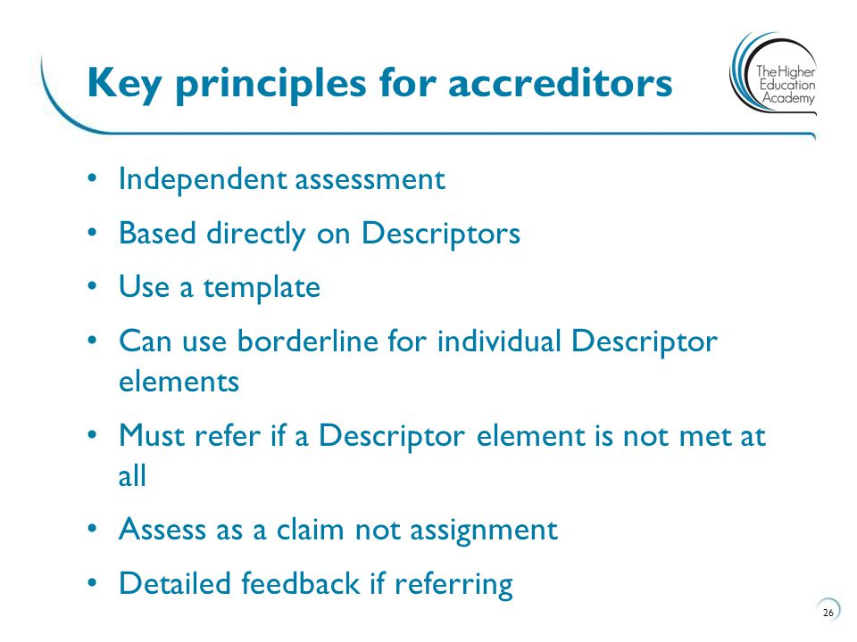 Key principles for accreditors