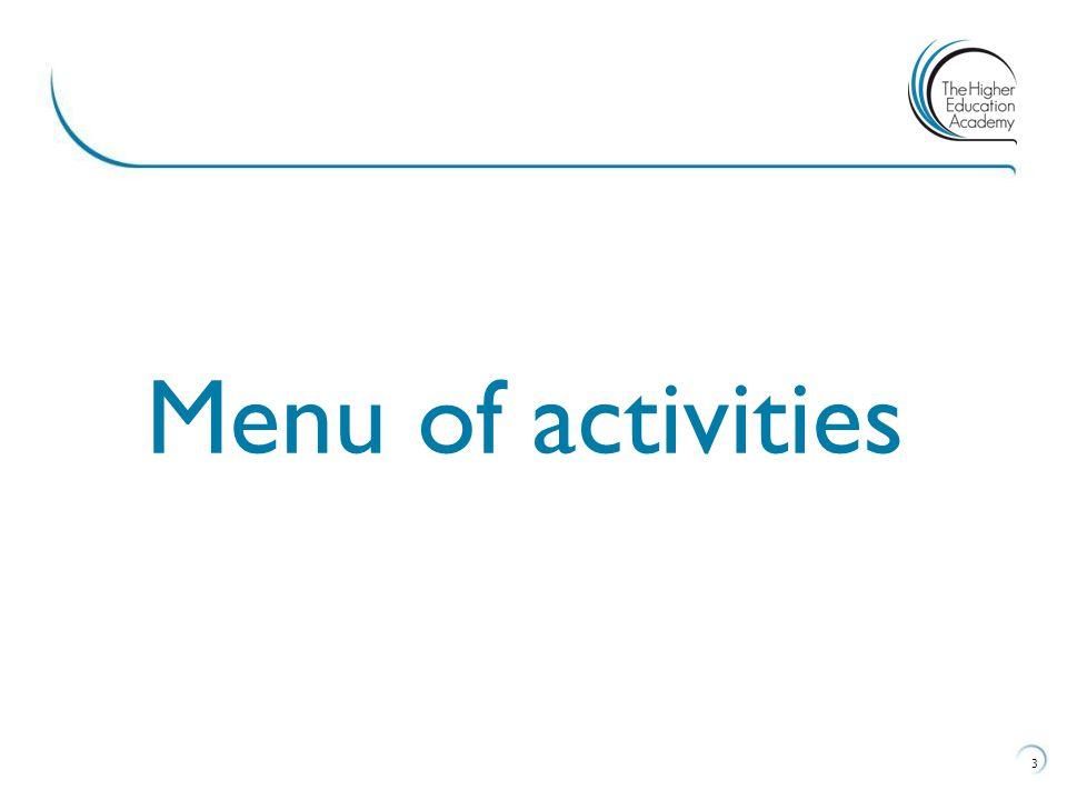 Menu of activities