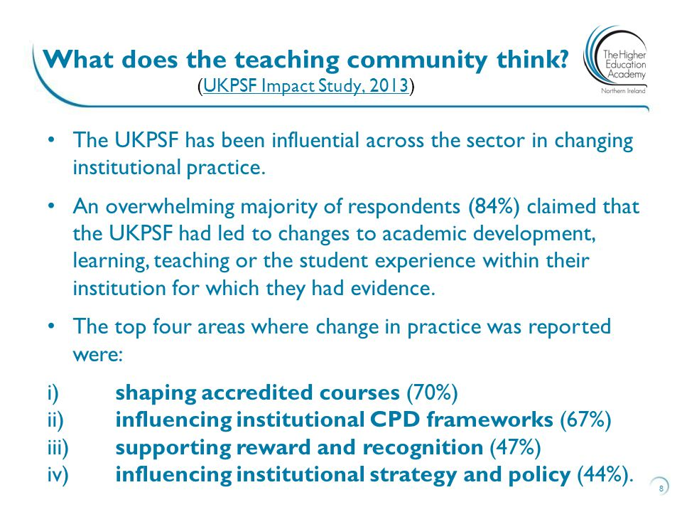 What does the teaching community think (UKPSF Impact Study, 2013)