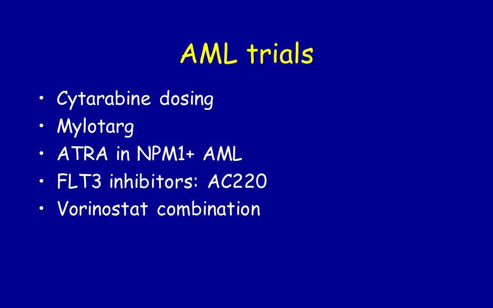 AML trials Cytarabine dosing Mylotarg ATRA in NPM1+ AML