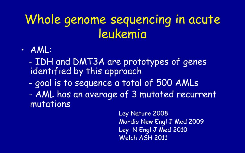 Whole genome sequencing in acute leukemia