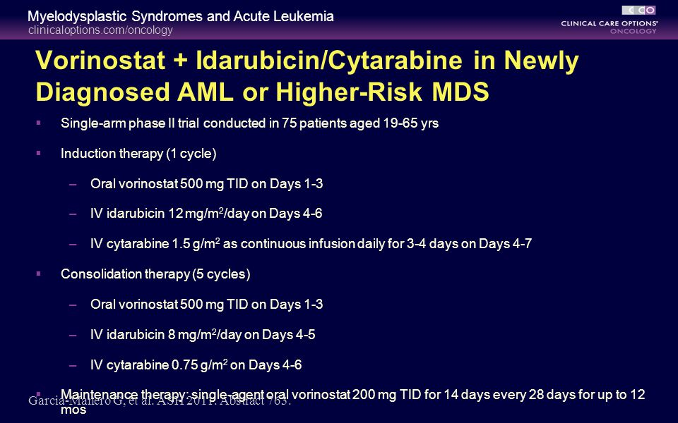 Vorinostat + Idarubicin/Cytarabine in Newly Diagnosed AML or Higher-Risk MDS