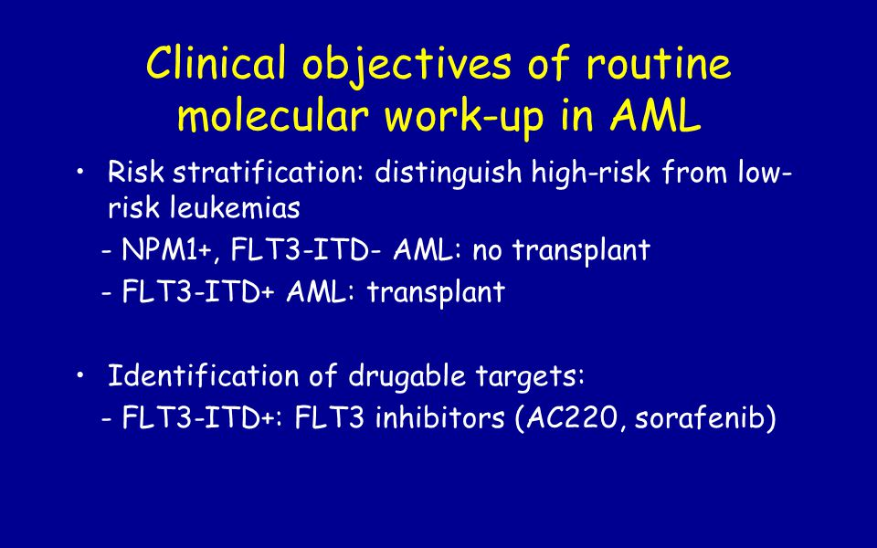 Clinical objectives of routine molecular work-up in AML