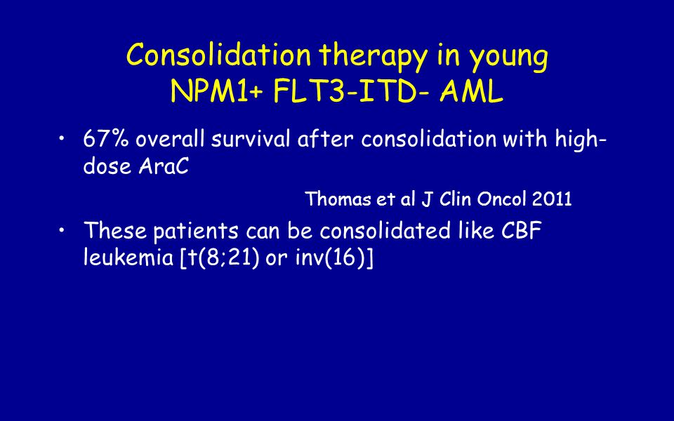 Consolidation therapy in young NPM1+ FLT3-ITD- AML