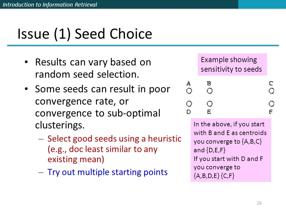 Issue (1) Seed Choice Results can vary based on random seed selection.