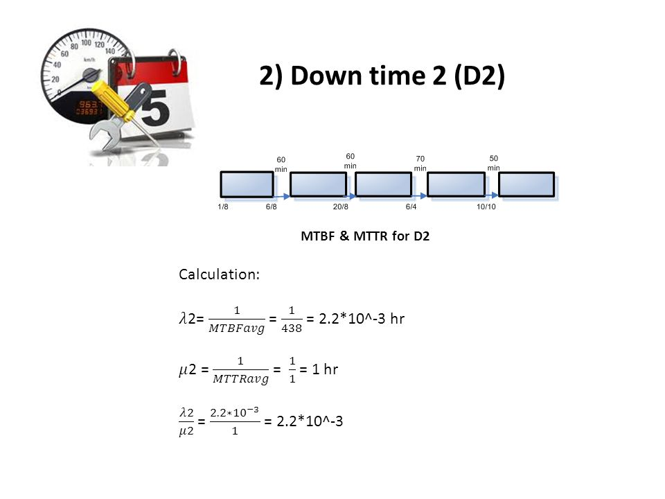 2) Down time 2 (D2) Calculation: 𝜆2= 1 𝑀𝑇𝐵𝐹𝑎𝑣𝑔 = 1 438 = 2.2*10^-3 hr