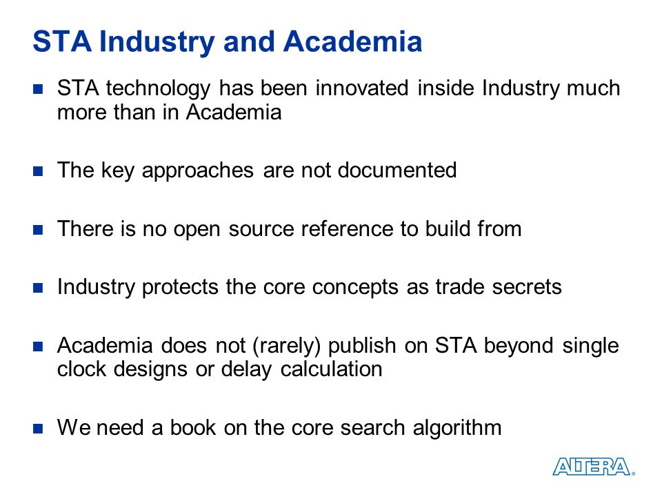 STA Industry and Academia