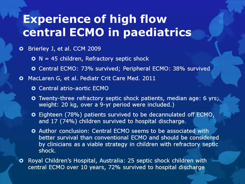 Experience of high flow central ECMO in paediatrics