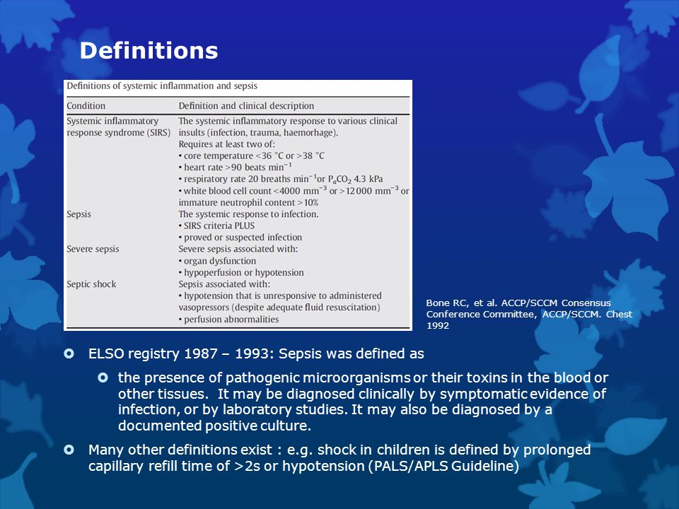 Definitions ELSO registry 1987 – 1993: Sepsis was defined as