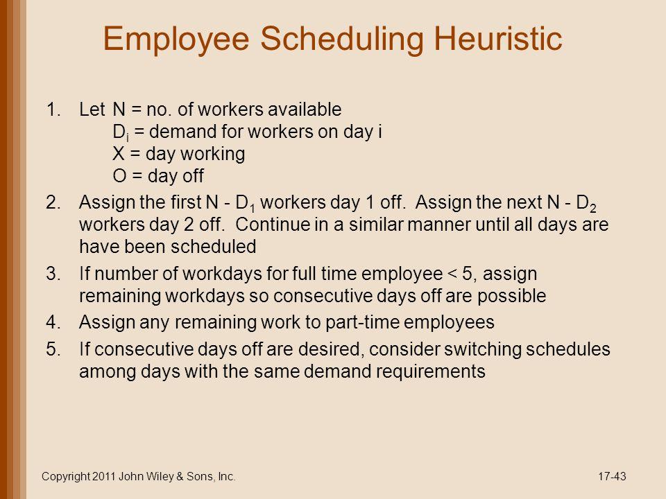 Employee Scheduling Heuristic