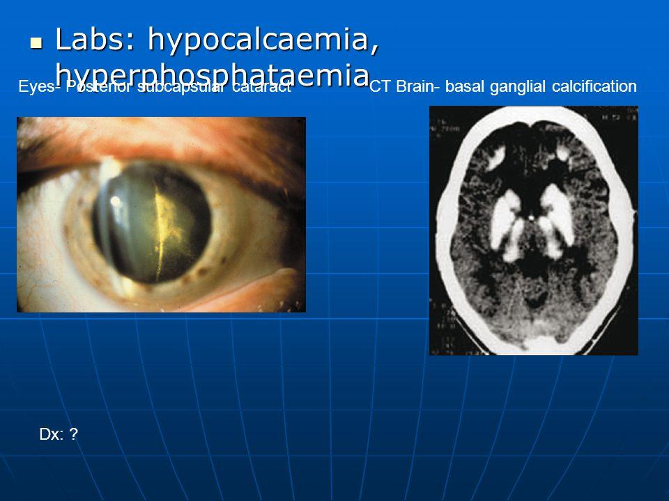Labs: hypocalcaemia, hyperphosphataemia