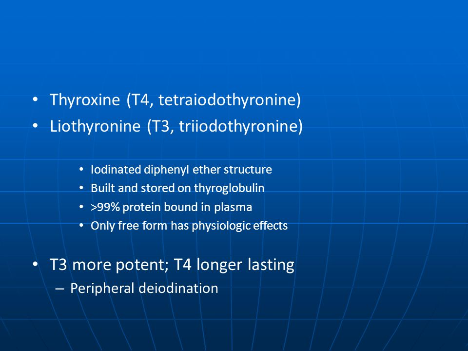 Thyroxine (T4, tetraiodothyronine) Liothyronine (T3, triiodothyronine)